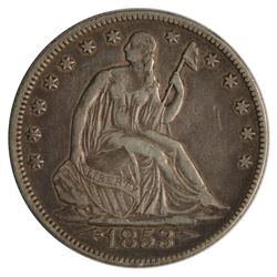 1853 Seated Liberty Half Dollar Coin