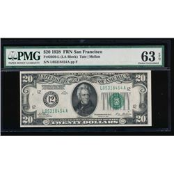 1928 $20 San Francisco Federal Reserve Note PMG 63EPQ
