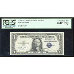 1935D $1 Silver Certificate Star Note PCGS 64PPQ