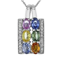 14KT White Gold 3.18ctw Multi Color Sapphire and Diamond Pendant with Chain