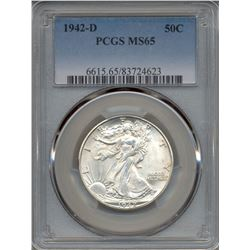 1942-D Walking Liberty Half Dollar Coin PCGS MS65