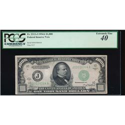 1934A $1000 Kansas City Federal Reserve Note PCGS 40