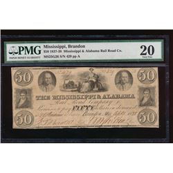 1837-38 $50 Mississippi & Alabama Rail Road Co Note PMG 20