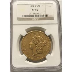1857-S $20 Liberty Head Double Eagle Gold Coin NGC XF45