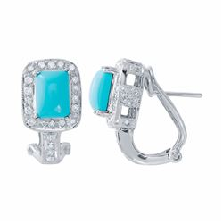 14KT White Gold 2.35ctw Turquoise and Diamond Earrings