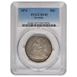 1874 Seated Liberty Half Dollar Coin PCGS XF45
