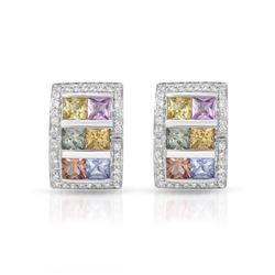 14KT White Gold 4.80ctw Multi Color Sapphire and Diamond Earrings