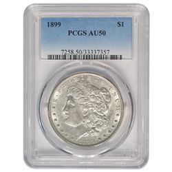 1899 $1 Morgan Silver Dollar Coin PCGS AU-50