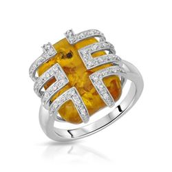 14KT White Gold 4.68ct Amber and Diamond Ring