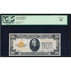 1928 $20 Gold Certificate PCGS 65
