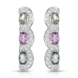14KT White Gold 3.39ctw Multi Color Sapphire and Diamond Earrings