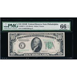 1934 $10 Philadelphia Federal Reserve Note PMG 66EPQ