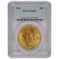 1913 $20 Saint Gaudens Double Eagle Gold Coin PCGS MS62