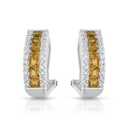 14KT White Gold 1.40ctw Yellow Sapphire and Diamond Earrings