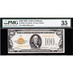1928 $100 Gold Certificate PMG 35