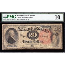 1880 $20 Pink Seal Legal Tender Note PMG 10