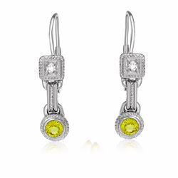 14KT White Gold 0.78ctw Yellow Sapphire and Diamond Earrings