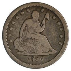 1838 Seated Liberty Quarter Coin