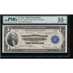 1918 $1 Philadelphia Federal Reserve Bank Note PMG 55EPQ