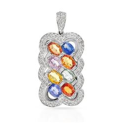 14KT White Gold 4.08ctw Multi Color Sapphire and Diamond Pendant with Chain
