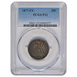 1877-CC Seated Liberty Quarter PCGS F12
