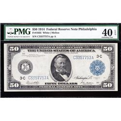 1914 $50 Philadelphia Federal Reserve Note PMG 40EPQ