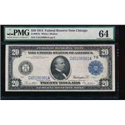 1914 $20 Chicago Federal Reserve Note PMG 64