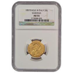 1857 Eagle B Italy 20 Lire Gold Coin NGC AU55