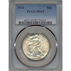 1944 Walking Liberty Half Dollar Coin PCGS MS65