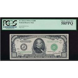 1934A $1000 Kansas City Federal Reserve Note PCGS 58PPQ