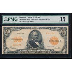 1922 $50 Gold Certificate PMG 35