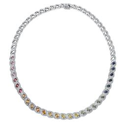 18KT White Gold 6.62ctw Multi Color Sapphire and Diamond Necklace