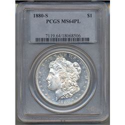 1880-S $1 Morgan Silver Dollar Coin PCGS MS64PL