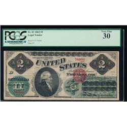 1862 $2 Legal Tender Note PCGS 30