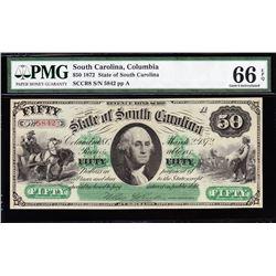 1872 $50 Columbia SC Obsolete Note PMG 66EPQ