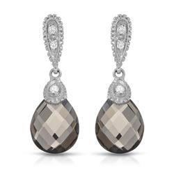 14KT White Gold 5.06ctw Smoky Topaz and Diamond Earrings
