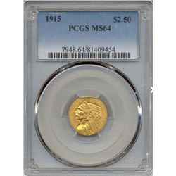 1915 $2.5 Indian Head Quarter Eagle Gold Coin NGC MS64