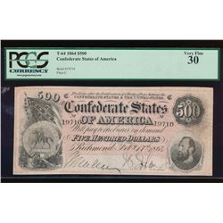 1864 $500 Confederate States of America Note PCGS 30