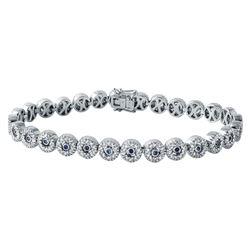 14KT White Gold Blue Sapphire and Diamond Bracelet