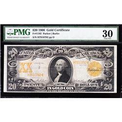 1906 $20 Gold Certificate PMG 30