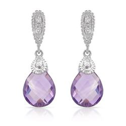 14KT White Gold 4.38ctw Amethyst and Diamond Earrings