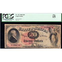 1869 $20 Rainbow Legal Tender Note PCGS 15