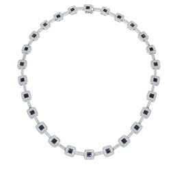14KT White Gold 5.30ctw Blue Sapphire and Diamond Necklace