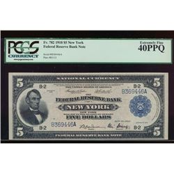 1918 $5 New York Federal Reserve Bank Note PCGS 40PPQ