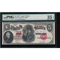 1907 $5 Legal Tender Note PMG 35EPQ
