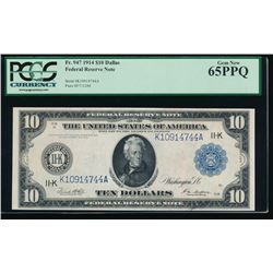 1914 $10 Large Dallas Federal Reserve Note PCGS 65PPQ