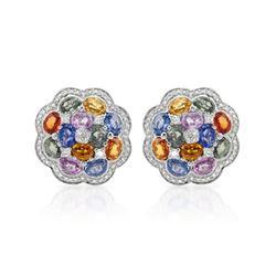 14KT White Gold 10.92ctw Multi Color Sapphire and Diamond Earrings