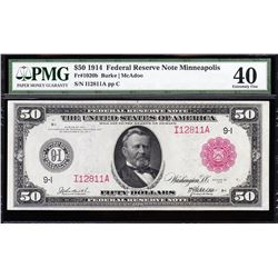 1914 $50 Red Seal Minneapolis Federal Reserve Note PMG 40