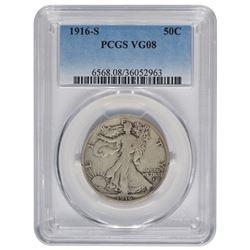 1916-S Walking Liberty Half Dollar PCGS VG08
