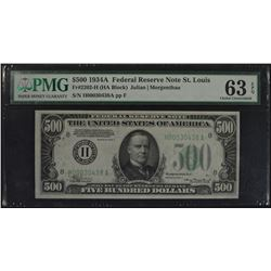 1934A $500 St. Louis Federal Reserve Note PMG 63EPQ